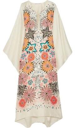 Chloé Lace-up Floral-print Silk-jacquard Kaftan