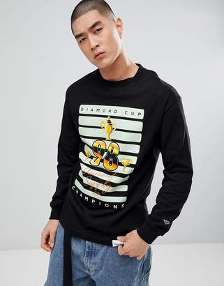 Diamond Supply Co. Cup Print Long Sleeve T-Shirt In Black