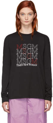 MSGM Black Times New Roman Long Sleeve T-Shirt