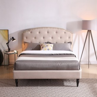 Modern Sleep Cranleigh Upholstered Platform Bed | Headboard and Metal Frame with Wood Slat Support, Multiple Colors, Multiple Sizes