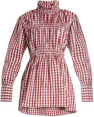 TEIJA Ruffled-collar cotton-gingham shirt