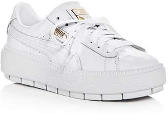 Puma Women's Trace Ostrich-Embossed Leather Lace Up Platform Sneakers