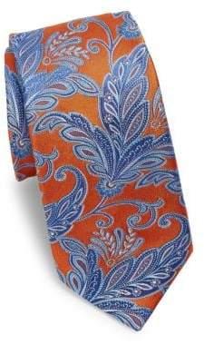 Ike Behar Orange Paisley Silk Tie