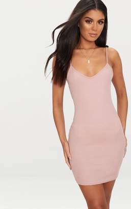 PrettyLittleThing Basic Dusty Pink Strappy V Neck Ribbed Bodycon Dress
