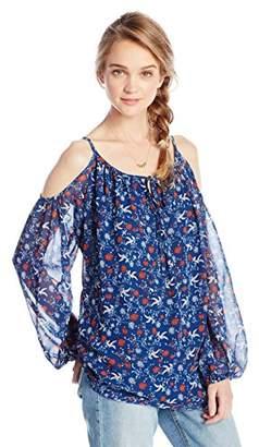 Ella Moon Women's Solana Long Sleeve Tie Neck Cold Shoulder Blouse