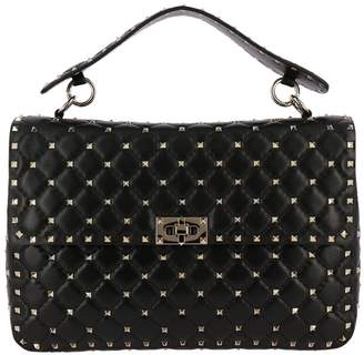 Valentino Handbag Rockstud Spike Large Bag In Genuine Leather With Micro Studs And Sliding Shoulder Strap
