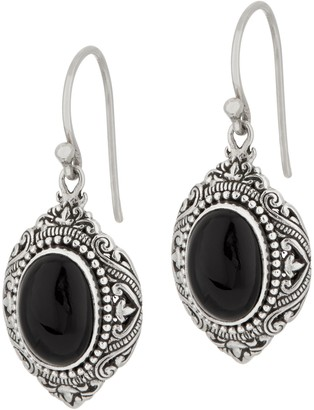 Artisan Crafted Sterling Silver Cabochon Gemstone Drop Earrings