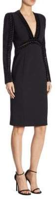 Elie Saab Velvet Trim Sheath Dress