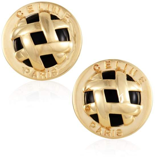 Celine Celine 18K Yellow Gold and Onyx Lattice Clip-on Earrings