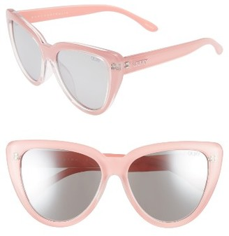 Women's Quay Australia Stray Cat 58Mm Mirrored Cat Eye Sunglasses - Peach/ Gradual Flash Mirror $60 thestylecure.com
