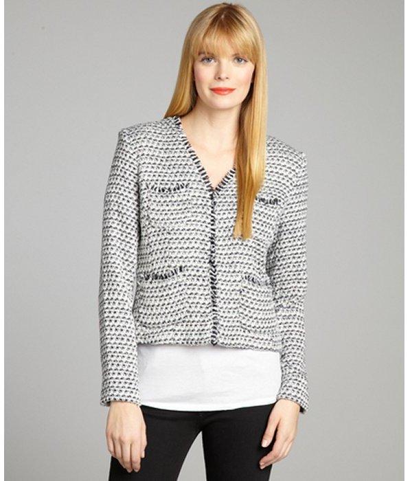 Ellen Tracy navy and white tweed lurex long sleeve jacket