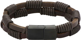 JCPenney FINE JEWELRY Mens Double-Row Brown Leather and Rope Wrap Bracelet