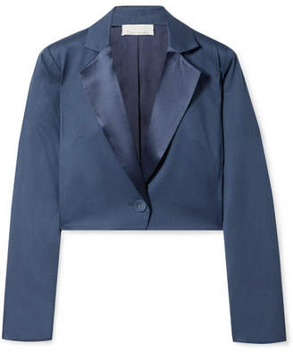Fleur Du Mal Cropped Satin-trimmed Silk And Wool-blend Piqué Blazer - Storm blue