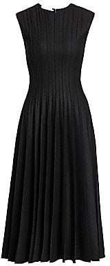 Oscar de la Renta Women's Pleated Stretch Wool Midi Dress