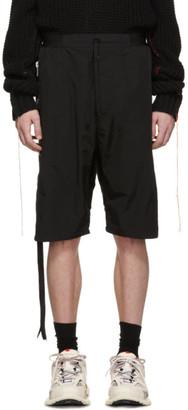 Unravel Black Nylon Drop Shorts