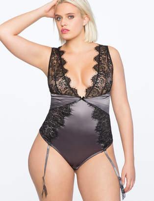 ELOQUII Eyelash Lace Plunge Neckline Bodysuit