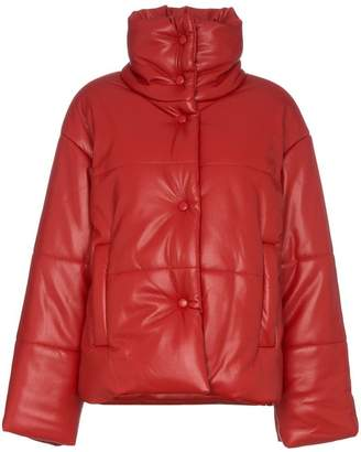 Nanushka hide faux leather puffer jacket