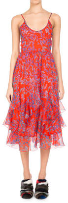 Pascal Millet Floral-Print Chiffon Ruffle-Hem Midi Dress, Orange