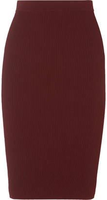 Vince Ribbed-knit Skirt - Burgundy