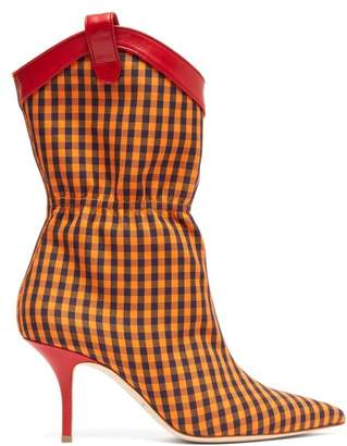 Malone Souliers Daisy Gingham Check Canvas Boots - Womens - Orange Multi