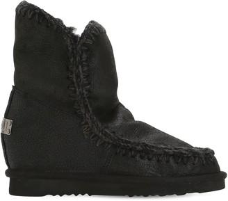 Mou 70mm Mini Eskimo Wedge Shearling Boots