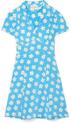 Morgan HVN Mini Floral-print Silk Crepe De Chine Mini Dress