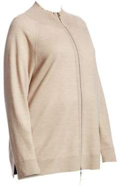 Lafayette 148 New York, Plus Size Zip Front Plaited Cardigan