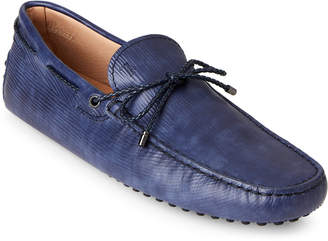 Tod's Light Blue Textured Leather Drivers