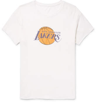 The Elder Statesman + Nba Los Angeles Lakers Printed Cashmere And Silk-Blend T-Shirt