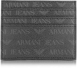 Armani Jeans Black Signature Eco Leather Men's Card Holder