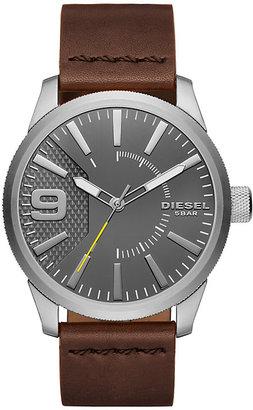 Diesel Stainless Steel Grey Dial Brown Leather Strap Watch