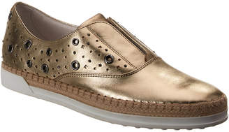 Tod's Eyelet Studded Metallic Leather Slip-On Sneaker