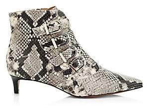 Joie Women's Calinda Snake-Embossed Leather Kitten Heel Booties