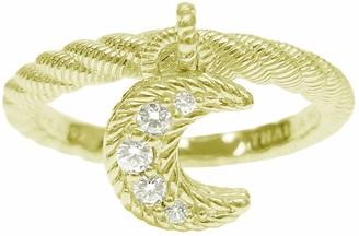 Judith Ripka 14K Clad Diamonique Moon Charm Ring
