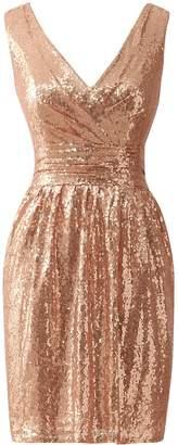 LIZAIA Women's Sequins Short Bridesmaid Dresses V-Neck Prom Dress Evening Party Gowns US