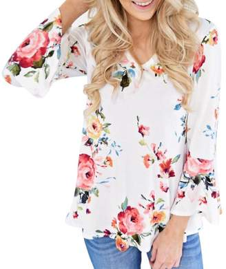 GONKOMA Women's Summer Plus Size Floral V-Neck Camisole Sleeveless Loose Tops Blouse Size S-5XL (S, )