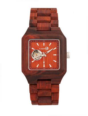 Earth Wood Black Rock Automatic Wood Bracelet Watch Red 42Mm