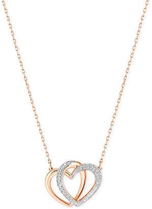 Swarovski Rose Gold-Tone Crystal Pave Interlocking Double Heart Pendant Necklace