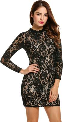 Zeagoo Women Crew neck Sheath Lace Cocktail Prom Short Dress