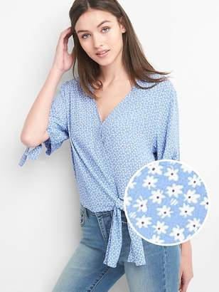 Gap Short Sleeve Wrap-Front Tie Blouse
