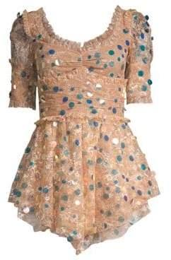 For Love & Lemons Ace Paillette Lace Mini Dress