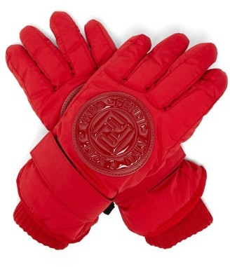 Fendi Logo Patch Padded Ski Gloves - Womens - Red