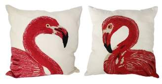 A&B Home Embroidered Flamingo Throw Pillows, 24 by 24-Inch, Set of 2