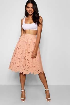 boohoo Boutique Crochet Lace Midi Skater Skirt