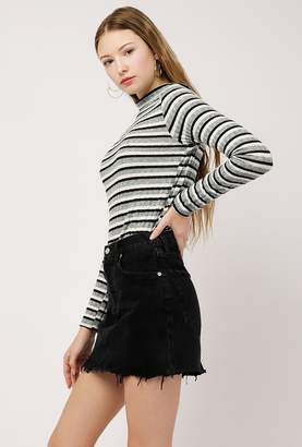 Azalea Rib L/S Stripe Mock Neck Top