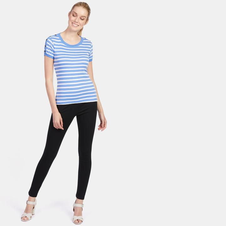 Grace Women's Striped Tee With Bronze Button Details