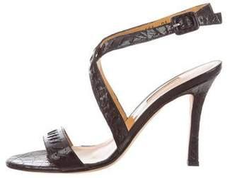Santoni Crocodile Ankle Strap Sandals