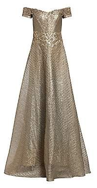 Rene Ruiz Collection Women's Metallic Organza Embroidered Off-The-Shoulder Gown