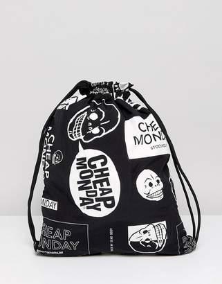 Cheap Monday Multi Logo Drawstring Bag