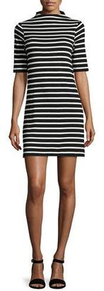 French Connection Terry Striped Mock-Neck Dress $118 thestylecure.com
